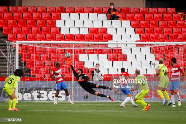 David Timor of Getafe CF scores his team's first goal during the Liga match between Granada CF and Getafe CF at Nuevo Los Carmenes stadium on June 12...