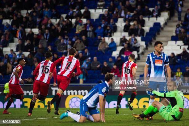 David Timor of Girona FC celebrates after scoring the opening goal during the La Liga match between RCD Espanyol and Girona FC at RCDE Stadium on...