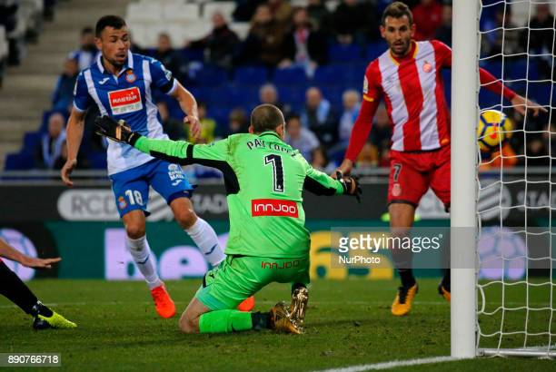 David Timor scores during the La Liga match between RCD Espanyol and Girona FC in Barcelona on December 11 2017