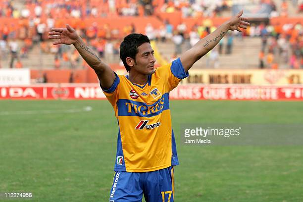 David Toledo, of Tigres, celebrates the victory over Jaguares after a match as part of the Clausura Tournament in the Mexican Football League at...