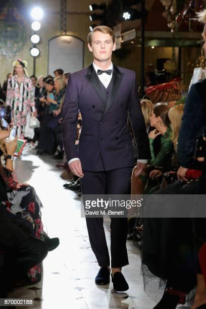 David Tollemache walks the Dolce Gabbana Italian Christmas catwalk show at Harrods on November 2 2017 in London England