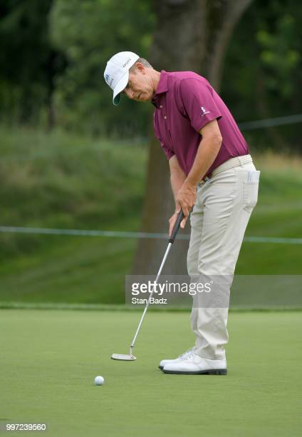David Toms hits a putt on the third hole during the first round of the PGA TOUR Champions Constellation SENIOR PLAYERS Championship at Exmoor Country...