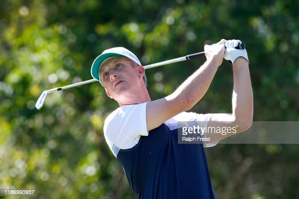David Toms hits a tee shot on the second hole during the first round of the Charles Schwab Cup Championship at Phoenix Country Club on November 07,...