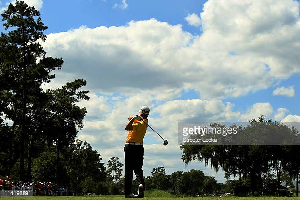 David Toms hits his tee shot on the ninth hole during the final round of THE PLAYERS Championship held at THE PLAYERS Stadium course at TPC Sawgrass...