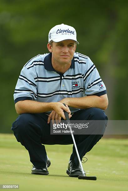 David Toms lines up a putt during the final round of the FedEx St. Jude Classic at the TPC at Southwind on May 30, 2004 in Memphis, Tennessee.