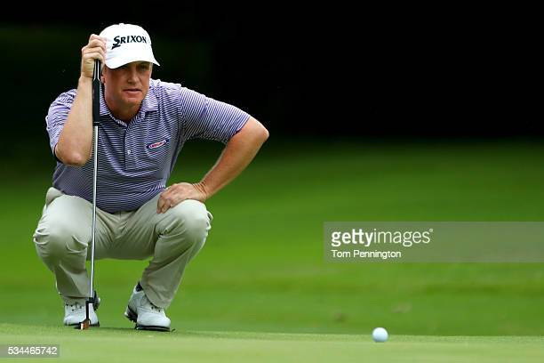 David Toms lines up a putt on the seventh green during the First Round of the DEAN & DELUCA Invitational at Colonial Country Club on May 26, 2016 in...