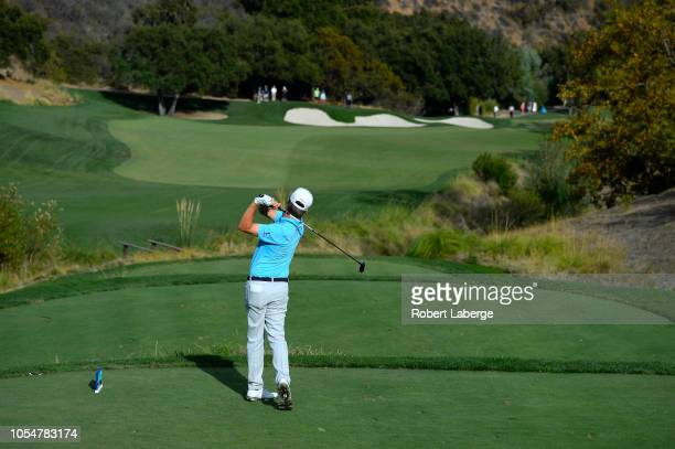 David Toms makes a tee shot on the 16th hole during the final round of the PGA Champions Tour 2018 Invesco QQQ Championship at the Sherwood Country...