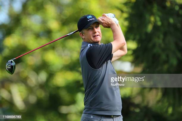 David Toms of Shreveport, Louisiana hits from the 2nd tee during the second round of The Ally Challenge presented by McLaren at Warwick Hills Golf...