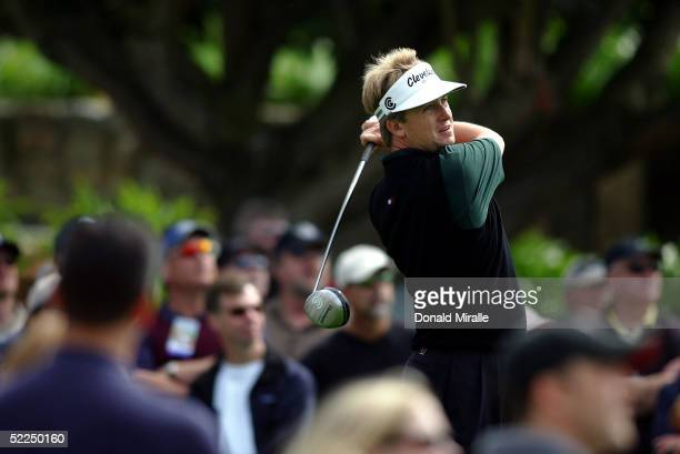 David Toms of the USA tees off the 9th hole during his 6&5 win over Chris DiMarco of the USA during the 36-hole Final Round at the WGC Accenture...