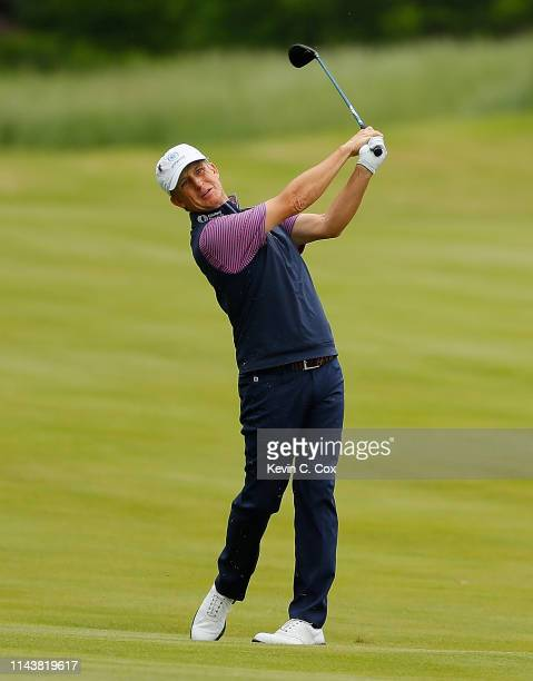 David Toms plays a shot on the 10th hole during the first round of the Mitsubishi Electric Classic at TPC Sugarloaf on April 19, 2019 in Duluth,...