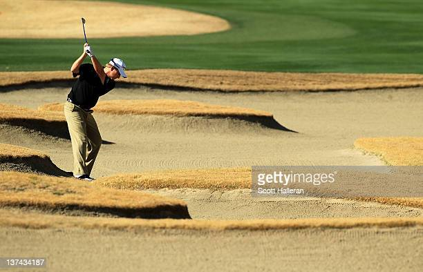 David Toms plays from a fairway bunker on the 13th hole during the second round of the Humana Challenge In Partnership With the Clinton Foundation on...