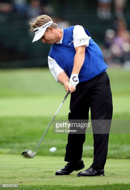David Toms plays his tee shot on the sixth hole during the final round of the 90th PGA Championship at Oakland Hills Country Club on August 10, 2008...