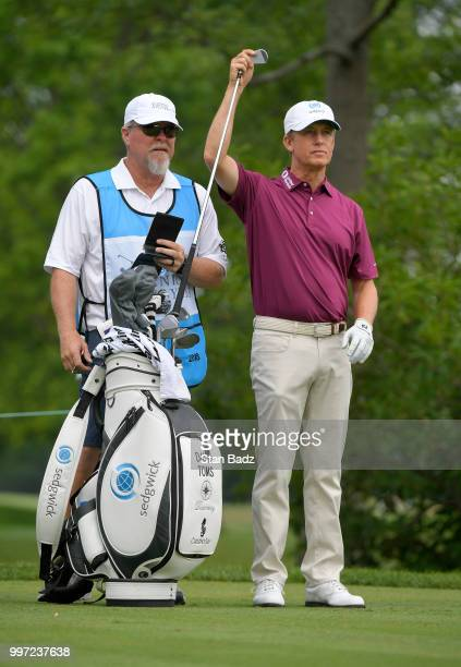 David Toms pulls a club on the fifth hole during the first round of the PGA TOUR Champions Constellation SENIOR PLAYERS Championship at Exmoor...