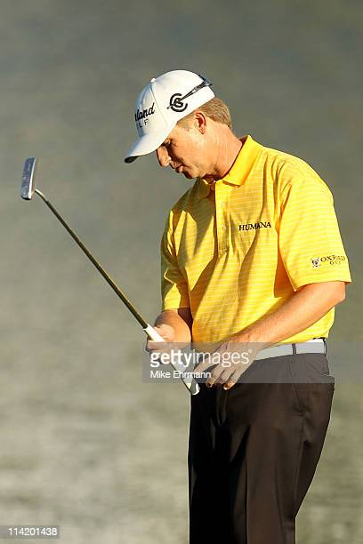 David Toms reacts after putting on the 17th hole during the final round of THE PLAYERS Championship held at THE PLAYERS Stadium course at TPC...