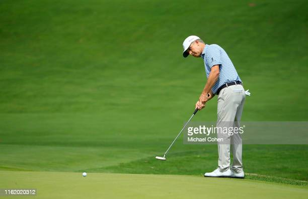 David Toms strokes his putt for birdie on the first green during the first round of the DICK'S Sporting Goods Open held at En-Joie Golf Course on...