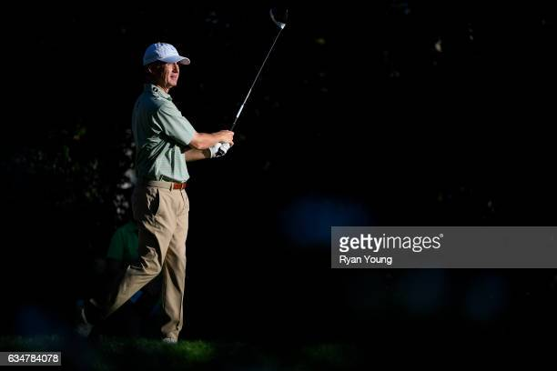 David Toms tees off on the 18th hole during the second round of the PGA TOUR Champions Allianz Championship at The Old Course at Broken Sound on...