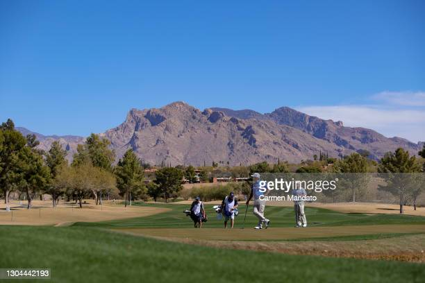 David Toms waits to putt on the eighth hole during round two of the Cologuard Classic at the Catalina Course of the Omni Tucson National Resort on...