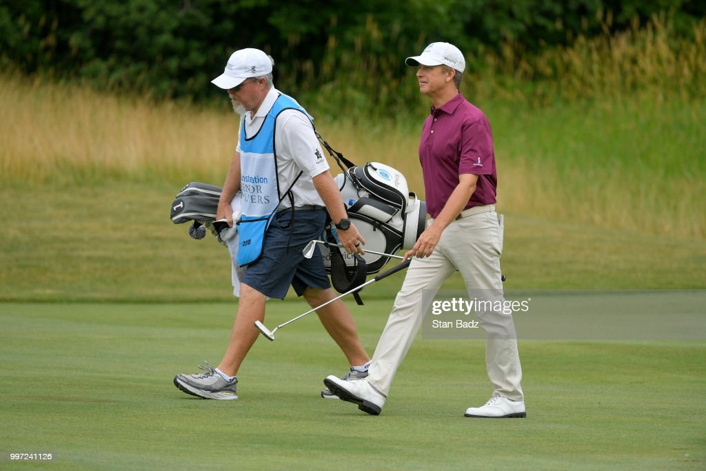 David Toms walks along the second hole during the first round of the PGA TOUR Champions Constellation SENIOR PLAYERS Championship at Exmoor Country Club on July 12, 2018 in Highland Park, Illinois.