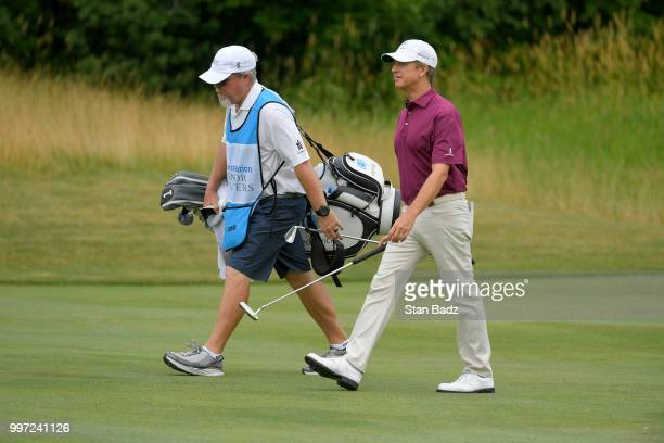 David Toms walks along the second hole during the first round of the PGA TOUR Champions Constellation SENIOR PLAYERS Championship at Exmoor Country...