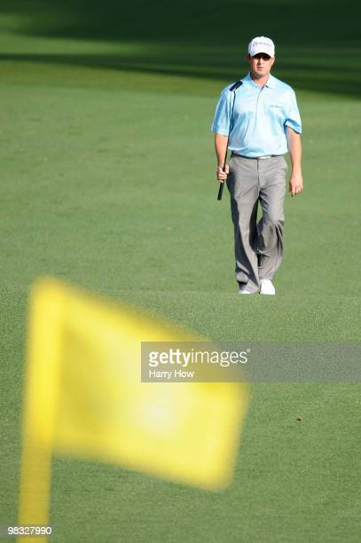 David Toms walks to the second green during the first round of the 2010 Masters Tournament at Augusta National Golf Club on April 8, 2010 in Augusta,...