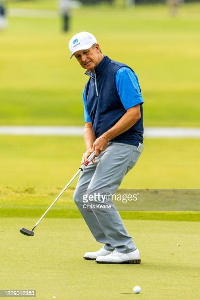 David Toms watches his missed putt on the second hole during the final round of the SAS Championship at Prestonwood Country Club on October 11, 2020...