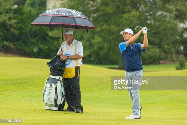 David Toms watches his second shot on the second hole during the final round of the SAS Championship at Prestonwood Country Club on October 11, 2020...