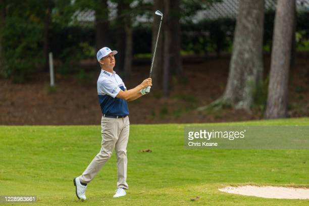 David Toms watches his second shot on the seventh hole during the first round of the SAS Championship at Prestonwood Country Club on October 9, 2020...
