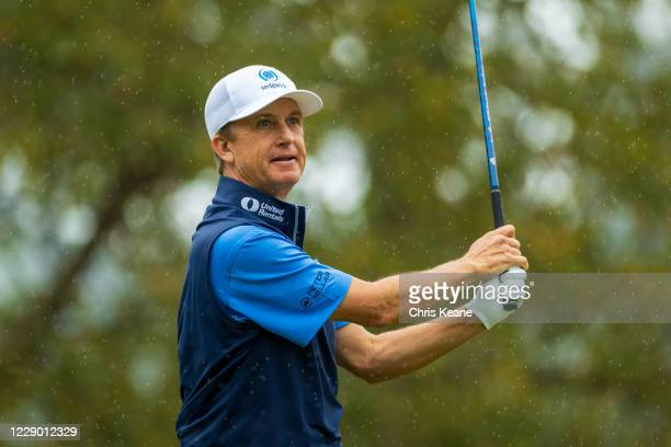 David Toms watches his tee shot on the second hole during the final round of the SAS Championship at Prestonwood Country Club on October 11, 2020 in...