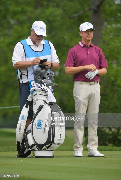 David Toms watches play on the fifth hole during the first round of the PGA TOUR Champions Constellation SENIOR PLAYERS Championship at Exmoor...