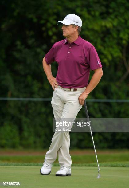 David Toms watches play on the third hole during the first round of the PGA TOUR Champions Constellation SENIOR PLAYERS Championship at Exmoor...