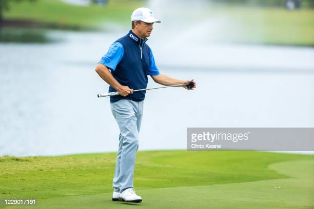David Toms wipes his putter off on the 12th hole during the final round of the SAS Championship at Prestonwood Country Club on October 11, 2020 in...