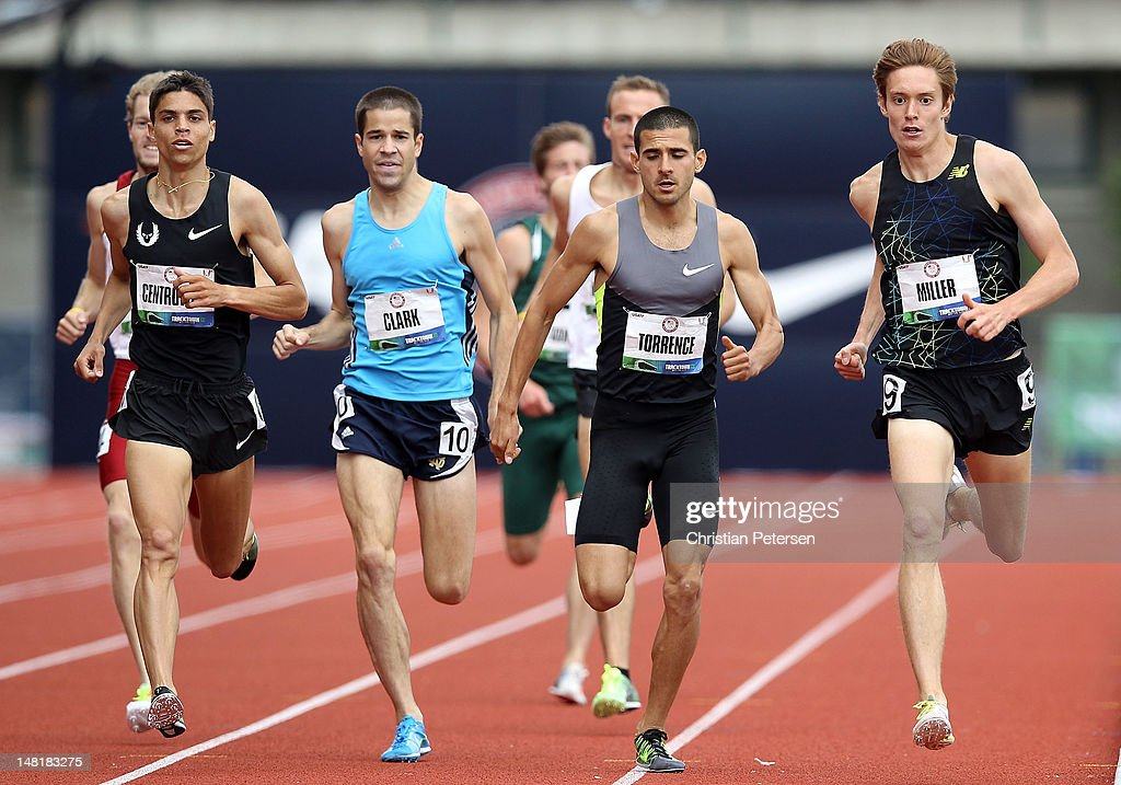 David Torrence (second from right) competes in the Men's 1500 Meter Run Preliminaries on day seven of the U.S. Olympic Track & Field Team Trials at the Hayward Field on June 28, 2012 in Eugene, Oregon.