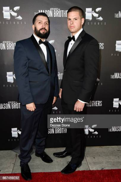 """David Trevino and Keith Sutliff attend the premiere of """"The Mason Brothers"""" at the Egyptian Theatre on April 11, 2017 in Hollywood, California."""