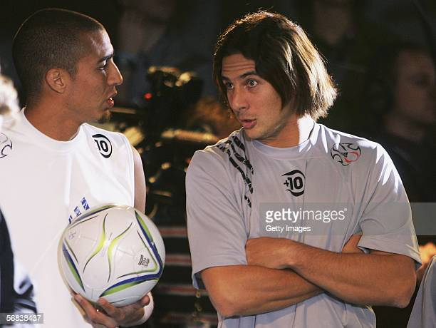 David Trezeguet and Claudio Pizarro laughing during the Major adidas F50 Tunit Launch Event on February 13 2006 in Munich