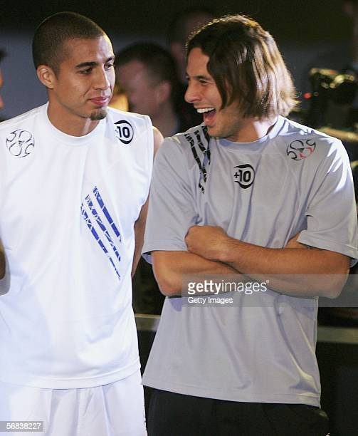 David Trezeguet and Claudio Pizarro talking during the Major adidas F50 Tunit Launch Event on February 13 2006 in Munich