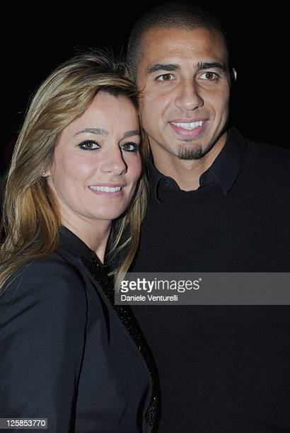 David Trezeguet and his wife Beatrice attend the DSquared2 Fashion Show as part of Milan Fashion Week Menswear A/W 2011 on January 18 2011 in Milan...