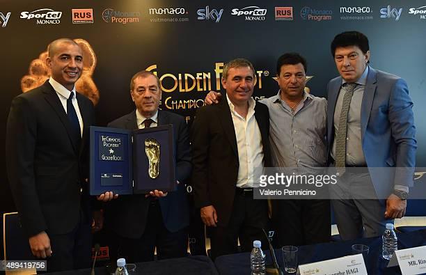 David Trezeguet Antonio Caliendo Gheorghe Hagi Daniel Passarella and Rinat Dasaev attend a press conference during the Golden Foot Award event at...