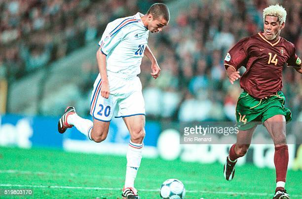 David TREZEGUET of France and Abel XAVIER of Portugal During The Semi Final of the Football European Championships betwenn France and Portugal In...