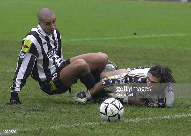 David Trezeguet of Juventus and Gianluigi Buffon goalkeeper of Parma in action during the Serie A 10th Round League match between Juventus and Parma...
