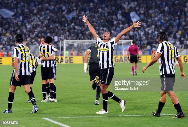 David Trezeguet of Juventus celebrates with his team mates after scoring their second goal during the Serie A match between Lazio and Juventus at...