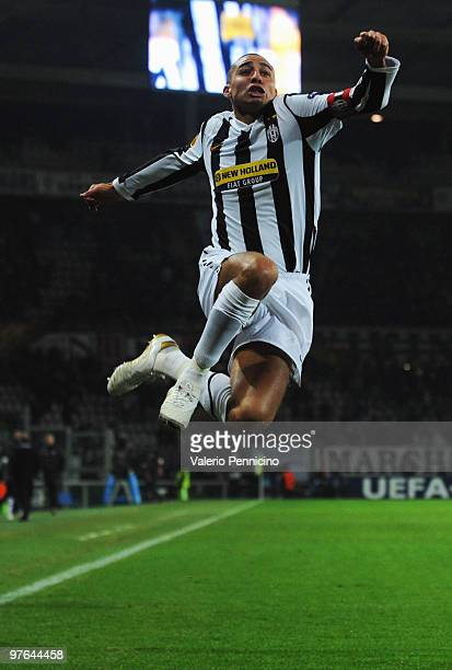 David Trezeguet of Juventus FC celebrates his goal during the UEFA Europa League last 16 first leg match between Juventus FC and Fulham FC on March...