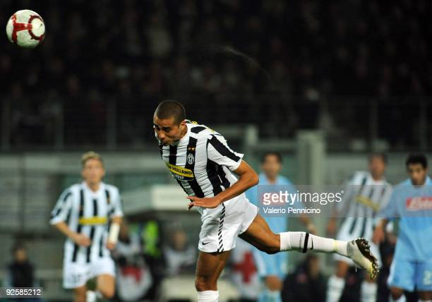 David Trezeguet of Juventus FC scores his goal during the Serie A match between Juventus FC and SSC Napoli at Olimpico Stadium on October 31 2009 in...