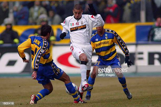 David Trezeguet of Juventus in action during the Serie A match between Parma and Juventus played at the Ennio Tardini Stadium Parma Italy on February...