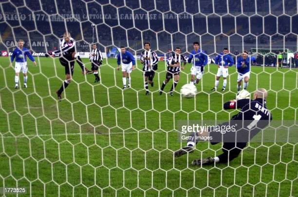 David Trezeguet of Juventus scores from the penalty spotduring the Serie A match between Juventus and Empoli played at the Stadio Delle Alpi Turin...
