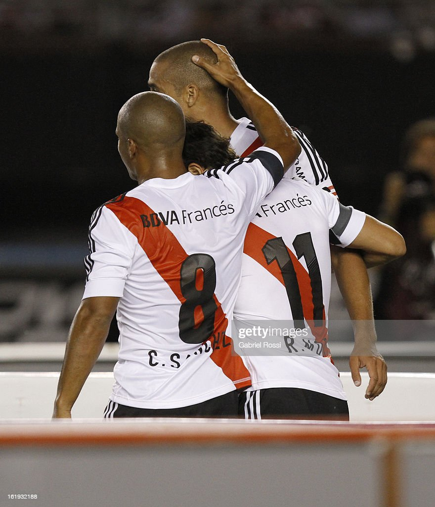 David Trezeguet of River Plate celebrates a goal during the match between River Plate and Estudiantes of Torneo Final 2013 on February 17, 2013 in Buenos Aires, Argentina.