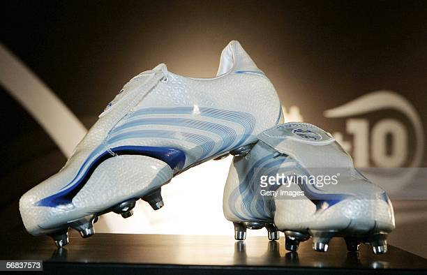 David Trezeguet`s new shoes are displayed during the Major adidias F50 Tunit Launch Event on February 13 2006 in Munich Germany