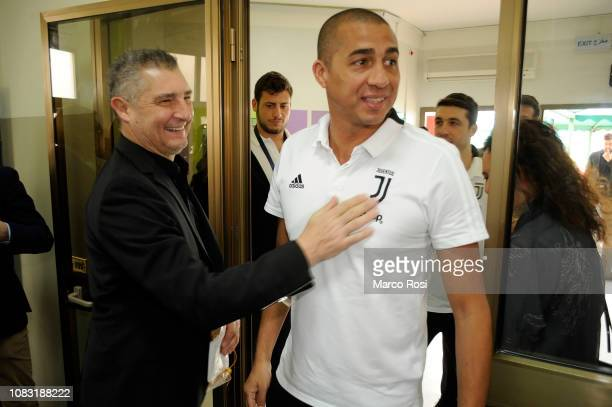 David Trezuegue former player of Juventus and Daniele Massaro former player of AC Milan attend an AC Milan Juventus and Lega Serie A delegation visit...