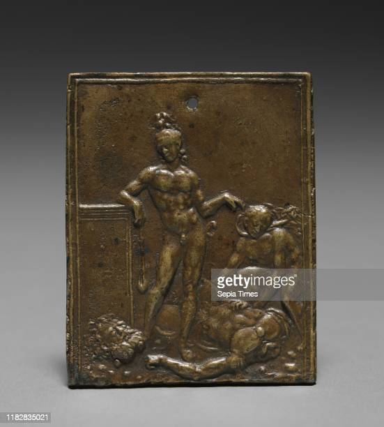 David Triumphant over Goliath, late 1400s - early 1500s. Moderno . Bronze; overall: 7 x 5.8 cm .