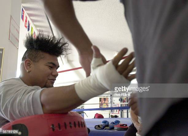 David Tua has his hands tapped for trainind in the Gym at Prince Ranch Resort Mt Charleston north of Las Vegas Tua is sceduled to fight Lennox Lewis...