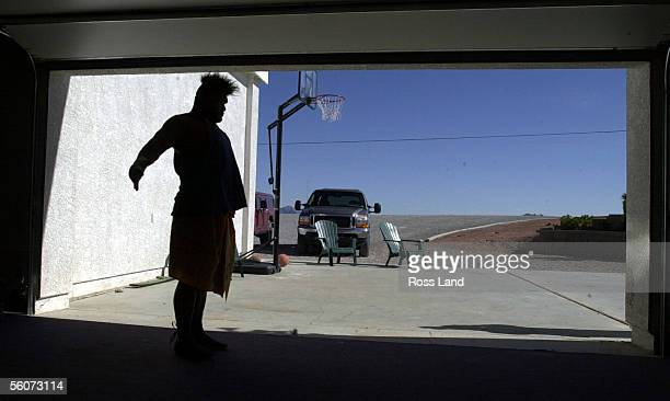 David Tua stretches in the Gym before at his training camp at Prince Ranch Resort Mt Charleston north of Las Vegas